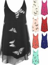 Ladies Women's Plus Size Butterfly Print Sleeveless Dip Hem Lined Vest Top 14-28