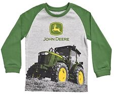 NEW John Deere Boys Gray T-Shirt Green Sleeves Tractor Design Size 4, 5, 6, 7