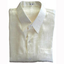 Mens Thai Silk Shirt /Short Sleeve Luxury Off-White Jacquard  / M L XL 2XL 3XL