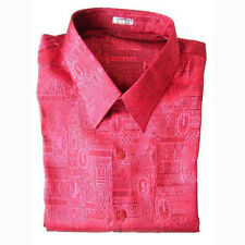 Mens Jacquard Weave Thai Silk Shirt / Short Sleeve Luxury Red / M L XL 2XL 3XL