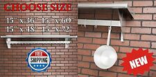 "15""x36"" 48"" 60"" 72"" Stainless Steel Wall Mounted Pot Rack w/ Shelf and 18 Hooks"