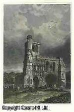 ANTIQUE PRINT - HAND COLOURED DUNSTABLE PRIORY CHURCH, WEST FRONT. BEDFORDSHIRE.
