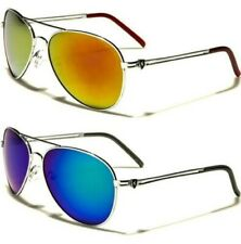 NEW SUNGLASSES SILVER MIRRORED KHAN DESIGNER MENS LADIES AVIATOR BIG RETRO UV400