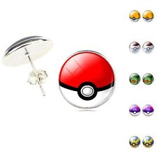 1Pair Silver Plated Glass Cabochon Pokeball Stud Earrings Jewelry Hot Elegant