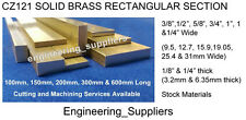 "Brass Flat Bar CZ121, 3/8"", 1/2"", 5/8"", 3/4"", 1"" & 1 1/4"" Wide 1/8"" & 1/4"" Thick"