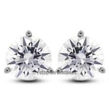 1.47ctw G-SI2 VG Round Natural Diamonds 14KW Gold 3-Prong Martini Earrings 5.5mm