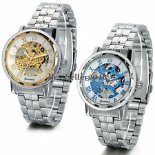 Mens Transparent Skeleton Stainless Steel Roman Numerals Mechanical Wrist Watch