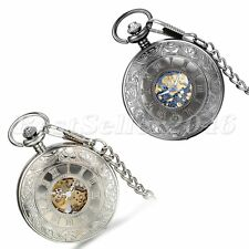 Vintage Roman Numerals Dial Skeleton Mechanical Mens Pocket Watch Necklace Chain