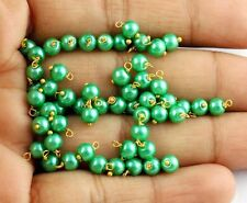 Beautifull 50 Pcs Lime Green Glass Pearl 4mm Smooth Linking Wire Wrapped Beads,