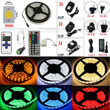 DC12/24V 5M SMD5050 300LED RGB/White Flexible Strip Light+Remote+Power Home Xmas