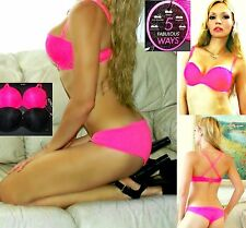 NWT XOXO Extreme Push Up Lace 5-Way Demi Bra,34B,34C,36C,38C,ADDS CUP Size!