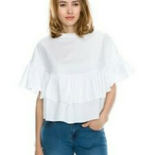 short sleeve white cotton ruffle crop top blouse