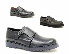 men's shoes double strap Monk black grey combat boots low blue leather ITALY