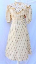 Vintage Day Dress 10 Ruffle Neck 30s 40s 70s Beige Brown Handmade Victorian