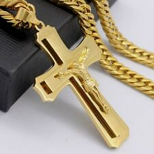 Mens Gold Curb Tone Link Chain Stainless Steel PENDANT NECKLACE 18-36inch 7mm