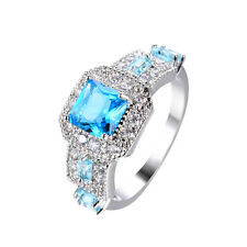 Blue Sapphire Band Women's Jewelry 10Kt White Gold Filled Wedding Ring Size 6-11
