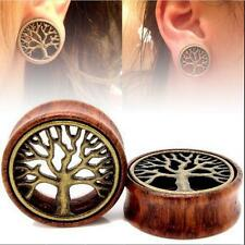 TUNNELS-EAR TUNNELS-FLESH GAUGES-EAR BRASS TREE PAIR-WOOD PLUGS OF LIFE EAR