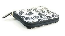 Happy Skull Print Fabric Over Synthetic Leather Wallet Punk Goth Rockabilly USA