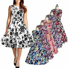 Fashion Women Vintage Swing Style Floral Printed Dress Rockabilly Pinup Dress