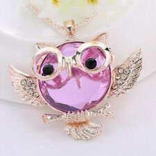 Chain Owl  necklace Round shape Vintage  Rhinestone Tide Statement Pendant