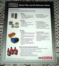 NEW FORD POWERSTROKE 6.0 6.4 7.3 DIESEL OIL AND FILTER LITERATURE BROCHURE CARD!