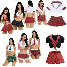 Sexy Ladies Short Plaid Skirt Scottish lingerie schoolgirl Role cosplay Costume
