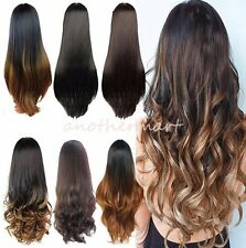 100% Clip in Hair Piece 3/4 Wig Fall Long Cheap Wavy Curly Straight Half Wig L37