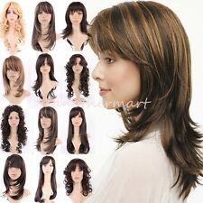 Brown Blonde Wig Natural Long Curly Straight Wavy Synthetic Wig Women Party #JJ3