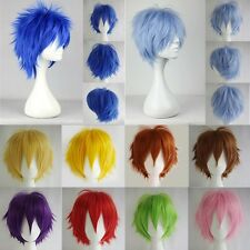 New Multi Color Men Boy Short Straight Hair Wig Anime Party Cosplay Full Wigs US