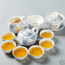 Porcelain tea set Cellular-style hollow out design tea pot ceramic tea cup bowl