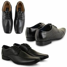 MENS BOYS NEW FAUX LEATHER LACE UP CASUAL FORMAL OFFICE WORK BLACK SHOES BOOTS