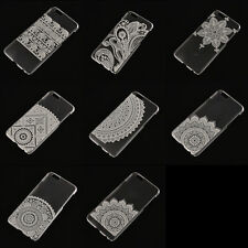 Thin Slim Clear Hard PC Flower Pattern Back Case Cover For Samsung&iPhone ESC