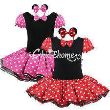 Girls Polka Dots Minnie Mouse Birthday Tutu Outfit Ballet Dress Headband Clothes