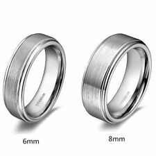 Titanium Promise Ring Wedding Band Brushed Center Comfort Fit 6mm/8mm Half Sizes