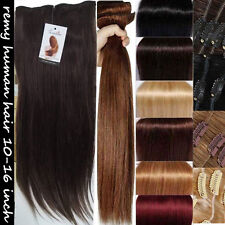 UK STOCK 160g THICK Double Weft clip in Remy Human Hair Extensions Full Head BES