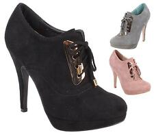 New Ladies Stiletto Faux Suede High Heel Platform Lace Up Smart Ankle Boots Size