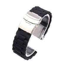 New Black Mens Silicone Rubber Wrist Watch Strap Band Waterproof Wristband Clasp