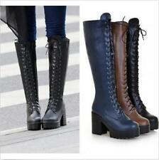 New Punk Womens Lace Up Chunky Heel Platform Block Knee High Boots Casual Shoes