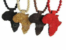 New Good Quality Hip-Hop African Map Pendant Wood Bead Rosary Necklaces Chain SL