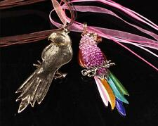 Pendant Necklace Crystal Rhinestone Parrot Full Animal Colorful Sweater Chain