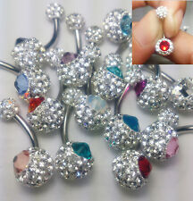 Belly button ring Swarovski Center and Preciosa tiny Crystal Ferido Ball 8mm,5mm