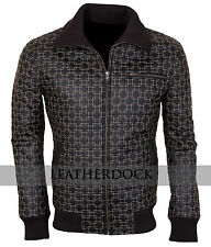 Mens Fashion Casual Black Embroidered Synthetic Leather Biker Jacket - All Sizes