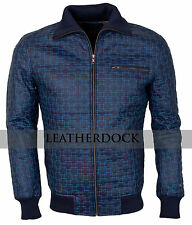 Designer Mens Casual Blue Embroidered Synthetic Leather Jacket - Top Quality