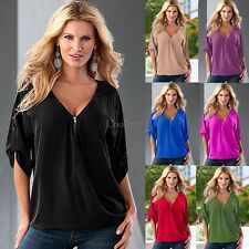 Womens Loose Summer Short Sleeve Sexy V Neck Shirts Tops Blouse Tee Plus Size