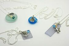 Sterling Silver Beach Sea Glass Pendant Charm Pearl Necklace Gecko Sand Dollar
