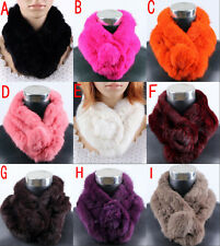 Women Real Rabbit fur Scarf Stole Cape Collar Muffler Winter Wrap Scarves Shawl