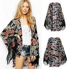 Boho Coat Floral tassel Open Cardigan Hippie Kimono Blouse Cape Blazer shawl Top