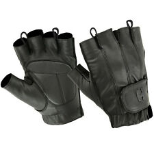 Hugger Deersoft Fingerless Motorcycle Gloves Gel-Padded Palm Easy Pull Up