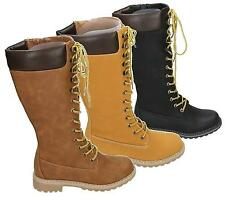 LADIES LACE UP FULL ZIP KNEE HIGH WOMENS WINTER MILITARY WORK HIKING BOOT SIZE 3