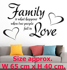 Family is what happens when two - Art Love Heart Home Wall Vinyl Stickers Quotes